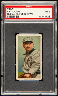 1909-11 T206 Cycle Cy Young, Glove Shows PSA VG 3