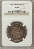 Seated Half Dollars: , 1855-O 50C Arrows XF45 NGC. NGC Census: (37/360). PCGS Population(51/348). Mintage: 3,688,000. Numismedia Wsl. Price for p...