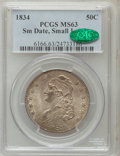 Bust Half Dollars, 1834 50C Small Date, Small Letters MS63 PCGS. CAC. O-120, R.4....