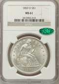 Seated Dollars: , 1859-O $1 MS61 NGC. CAC. NGC Census: (81/159). PCGS Population(113/189). Mintage: 360,000. Numismedia Wsl. Price for probl...