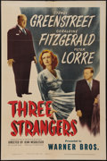 """Movie Posters:Crime, Three Strangers (Warner Brothers, 1946). One Sheet (27"""" X 41"""").Crime.. ..."""