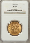 Liberty Eagles: , 1906 $10 MS63 NGC. NGC Census: (94/40). PCGS Population (136/42).Mintage: 165,497. Numismedia Wsl. Price for problem free ...