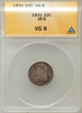 Bust Dimes: , 1831 10C VG8 ANACS. JR-5. NGC Census: (1/290). PCGS Population (4/305). Mintage: 771,350. Numismedia Wsl. Price for pr...