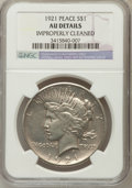 Peace Dollars, 1921 $1 -- Improperly Cleaned -- NGC Details. AU. NGC Census:(158/10651). PCGS Population (289/12375). Mintage: 1,006,473....
