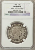 Barber Half Dollars, 1905 50C -- Obv Scratched -- NGC Details. VF. NGC Census: (1/77).PCGS Population (10/155). Mintage: 662,000. Numismedia Ws...