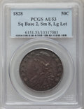 Bust Half Dollars: , 1828 50C Square Base 2, Small 8, Large Letters AU53 PCGS. PCGSPopulation (45/215). NGC Census: (21/126). (#6151)...