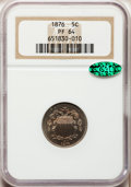 Proof Shield Nickels: , 1876 5C PR64 NGC. CAC. NGC Census: (99/115). PCGS Population(143/109). Mintage: 1,150. Numismedia Wsl. Price for problem f...
