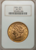 Liberty Double Eagles: , 1890 $20 AU58 NGC. NGC Census: (87/483). PCGS Population (68/522).Mintage: 75,995. Numismedia Wsl. Price for problem free ...