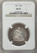 Seated Half Dollars: , 1857 50C MS62 NGC. NGC Census: (15/52). PCGS Population (12/37).Mintage: 1,988,000. Numismedia Wsl. Price for problem free...