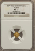California Fractional Gold: , 1870 25C Liberty Round 25 Cents, BG-835, R.3, MS61 NGC. NGC Census:(6/12). PCGS Population (29/90). (#10696)...