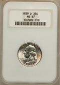 Washington Quarters: , 1939-D 25C MS67 NGC. NGC Census: (62/0). PCGS Population (43/0).Mintage: 7,092,000. Numismedia Wsl. Price for problem free...