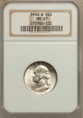 Washington Quarters: , 1940-D 25C MS67 NGC. NGC Census: (39/1). PCGS Population (21/0).Mintage: 2,797,600. Numismedia Wsl. Price for problem free...