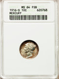 Mercury Dimes: , 1916-S 10C MS64 Full Bands ANACS. NGC Census: (151/96). PCGSPopulation (236/222). Mintage: 10,450,000. Numismedia Wsl. Pri...