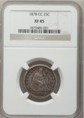 Seated Quarters: , 1878-CC 25C XF45 NGC. NGC Census: (7/204). PCGS Population (7/225).Mintage: 996,000. Numismedia Wsl. Price for problem fre...