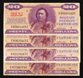 Military Payment Certificates:Series 692, Series 692 $20 Fine-Very Fine or Better Four Examples.. ... (Total: 4 notes)