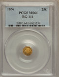 California Fractional Gold: , 1856 25C Liberty Octagonal 25 Cents, BG-111, R.3, MS64 PCGS. PCGSPopulation (36/12). NGC Census: (12/8). (#10380)...