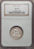 Seated Quarters: , 1877-S 25C AU55 NGC. NGC Census: (10/277). PCGS Population(20/291). Mintage: 8,996,000. Numismedia Wsl. Price for problem ...