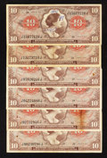 Military Payment Certificates:Series 641, Series 641 $10 Six Examples Very Fine.. ... (Total: 6 notes)