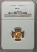 Commemorative Gold: , 1917 G$1 McKinley MS62 NGC. NGC Census: (162/1146). PCGS Population(217/2243). Mintage: 10,000. Numismedia Wsl. Price for ...