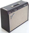 Musical Instruments:Amplifiers, PA, & Effects, 1966 Fender Deluxe Reverb Black Guitar Amplifier, Serial # A16127....