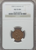 Indian Cents: , 1909-S 1C AU55 NGC. NGC Census: (146/596). PCGS Population(118/287). Mintage: 309,000. Numismedia Wsl. Price for problem f...