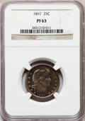 Proof Barber Quarters: , 1897 25C PR63 NGC. NGC Census: (26/142). PCGS Population (55/121). Mintage: 731. Numismedia Wsl. Price for problem free NGC...