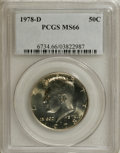 Kennedy Half Dollars: , 1978-D 50C MS66 PCGS. PCGS Population (97/27). NGC Census: (31/8).Mintage: 13,765,799. Numismedia Wsl. Price for NGC/PCGS ...