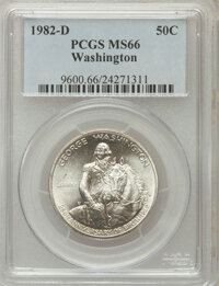 1982-D S50C Washington Silver Half Dollar MS66 PCGS. PCGS Population (265/2643). NGC Census: (475/3239). Mintage: 2,210...