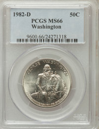 1982-D S50C Washington Silver Half Dollar MS66 PCGS. PCGS Population (265/2650). NGC Census: (479/3241). Mintage: 2,210...