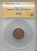 Errors, 1909-S 1C Lincoln Cents -- Reverse Lamination -- F12 ANACS....