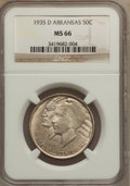 Commemorative Silver: , 1935-D 50C Arkansas MS66 NGC. NGC Census: (99/24). PCGS Population(185/37). Mintage: 5,505. Numismedia Wsl. Price for prob...