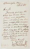 Autographs:Artists, George Cruikshank (1792-1878, British Artist and Illustrator).Autograph Letter Signed. Morningstar Place, Feb. 14th 1851. S...