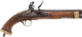 Handguns:Muzzle loading, Late 18th Early 19th Century Brass Mounted Flintlock Pistol Made For Use In British India....