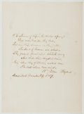 Autographs:Authors, William Cullen Bryant (1794-1878, American Poet, Journalist, Editor of the New York Evening Post). Autograph Poem Signed. Ma...