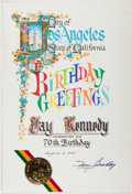 Autographs:Statesmen, Tom Bradley (1917-1998, 38th Mayor of Los Angeles). Signed City of Los Angeles Birthday Greeting. Approximately 15.75 x 10.7...