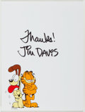 Autographs:Artists, Jim Davis (1945- , American Cartoonist). Signature on GarfieldNotepaper. Signed by Davis in black ink with images of Garfie...