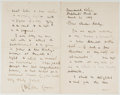 Autographs:Artists, Walter Crane (1845-1915, British Artist and Illustrator). Autograph Letter Signed. Shepherd's Bush: March 21, 1889). Four sm...