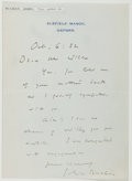 Autographs:Authors, John Buchan (1875-1940, Scottish Writer and Historian). Autograph Letter Signed. Oxford: Oct. 6, [19]32. Approximately 6.5 x...