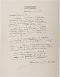 Autographs:Authors, Thornton W. Burgess (American Conservationist and Author ofChildren's Books, 1874-1965). Autograph Letter Signed. Springfie...