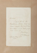 Autographs:Authors, Oliver Wendell Holmes, Sr. (American Poet, Physician and Essayist,1809-1894). Autograph Note Signed. Boston: May 13th 1858....