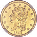 Classic Quarter Eagles, 1836 $2 1/2 Script 8 MS60 NGC. Head of 1835, Breen-6143, Variety-11, R.2....