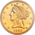 Liberty Half Eagles, 1859-C $5 MS61 PCGS Secure. Variety 1....