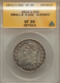 Bust Half Dollars: , 1812/1 50C Small 8 -- Cleaned -- ANACS. VF35 Details. O-102. NGCCensus: (5/75). PCGS Population (11/100). Numismedia Wsl...