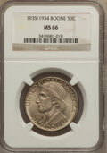 Commemorative Silver: , 1935/34 50C Boone MS66 NGC. NGC Census: (247/44). PCGS Population(225/39). Mintage: 10,008. Numismedia Wsl. Price for prob...