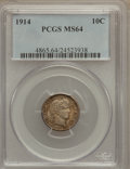 Barber Dimes: , 1914 10C MS64 PCGS. PCGS Population (291/196). NGC Census:(264/183). Mintage: 17,360,656. Numismedia Wsl. Price for proble...