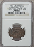 Expositions and Fairs, 1893 World's Columbian Expo Elongate on an 1890 Cent MS63 BrownNGC. Eglit-367. Chicago, IL....