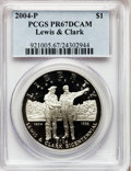 Modern Issues, 2004-P $1 Lewis and Clark Silver Dollar PR67 Deep Cameo PCGS. PCGSPopulation (21/5043). NGC Census: (3/5195). Numismedia ...