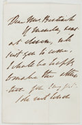 "Autographs:Artists, Johann Georg Buchner (German Painter, 1815-1857). Autograph LetterSigned. [N.p., n.d.]. Addressed ""Dear Mr. Bestinick [?]""...."