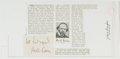 Autographs:Authors, Hall Caine (Manx (Isle of Mann) Novelist and Playwright, 1853-1931). Clipped Signature. [N.p., n.d.]. On plain white paper. ...
