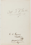 Autographs:Artists, Thomas Ball (1819-1911, American Sculptor and Musician). SignedLeaf. Baltimore: August 15, 1868. Approximately 7.5 x 5 inch...